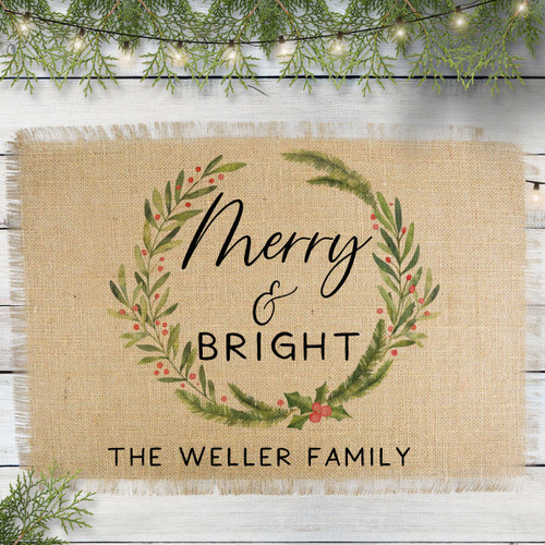 Personalized Merry & Bright Jute Placemat