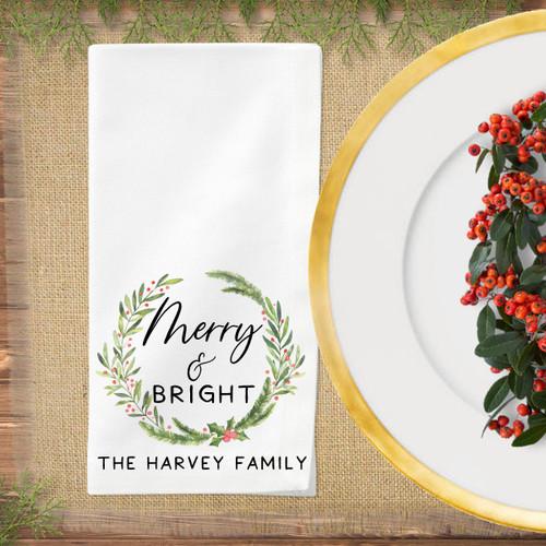 Personalized Merry & Bright Christmas Napkin Set