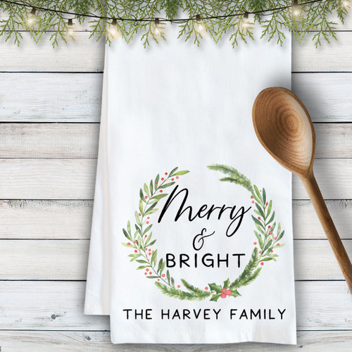 Personalized Merry & Bright Kitchen Towel