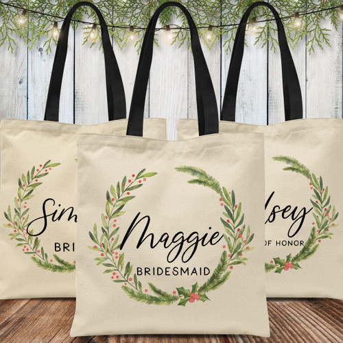 Custom Tote Bags: Merry & Bright Bridal Party