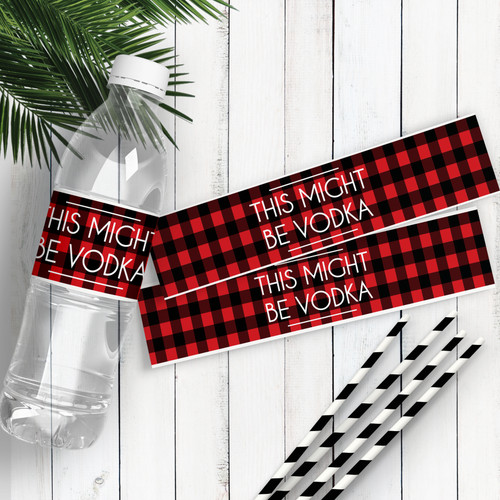 Perfectly Plaid Water Bottle Labels: This Might Be Vodka - Plaid Bachelorette or Baby Shower Stickers