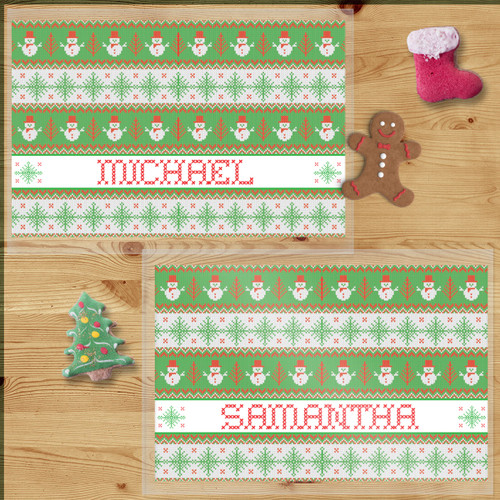Personalized Snowman Sweater Christmas Laminated Placemat