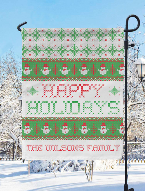 Personalized Snowman Sweater Christmas Garden Flag