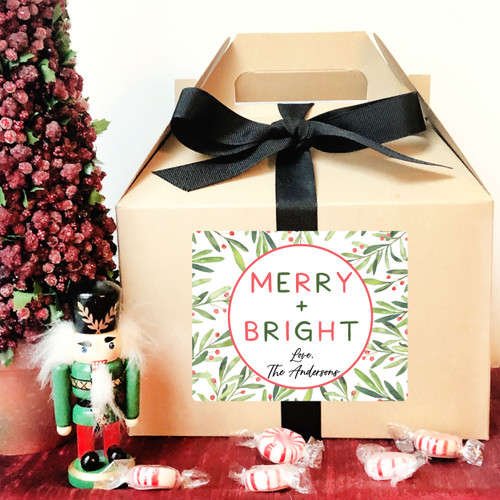 Personalized Merry & Bright Christmas Gable Boxes