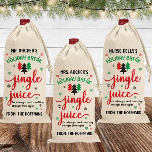 Custom Jingle Juice Christmas Canvas Wine Bag