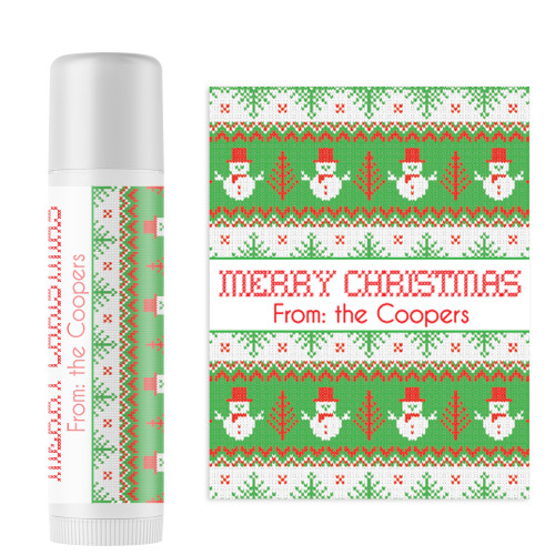Personalized Snowman Sweater Christmas Lip Balms