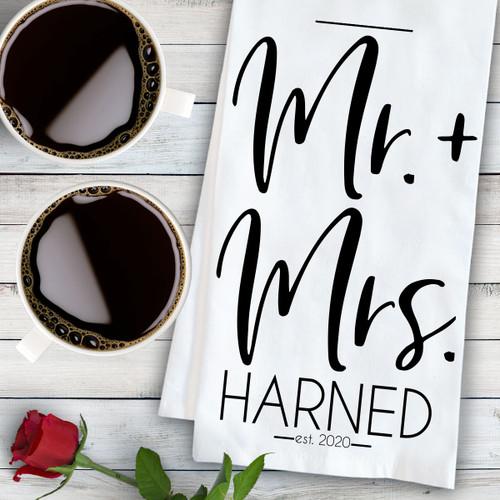 Personalized Modern Mr. & Mrs. Kitchen Towel