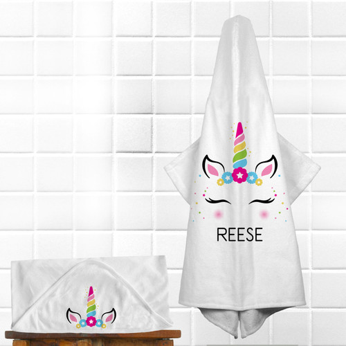 Personalized Magical Mod Unicorn Hooded Towel