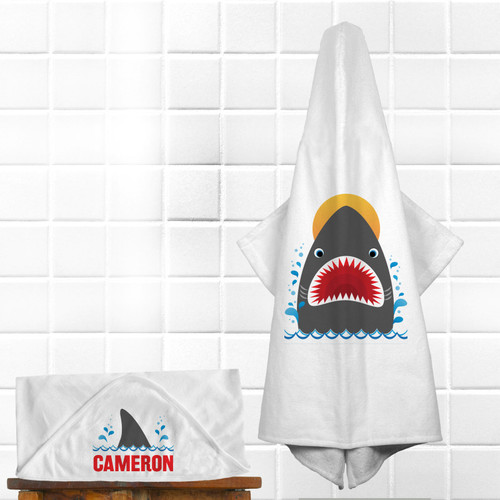 Personalized Shark Bait Hooded Towel
