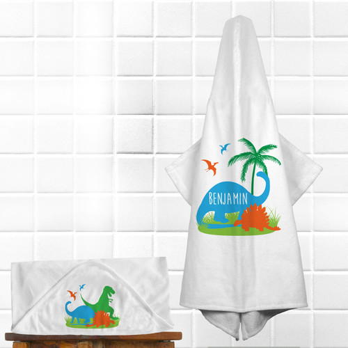 Personalized Jurassic Dino Hooded Towel