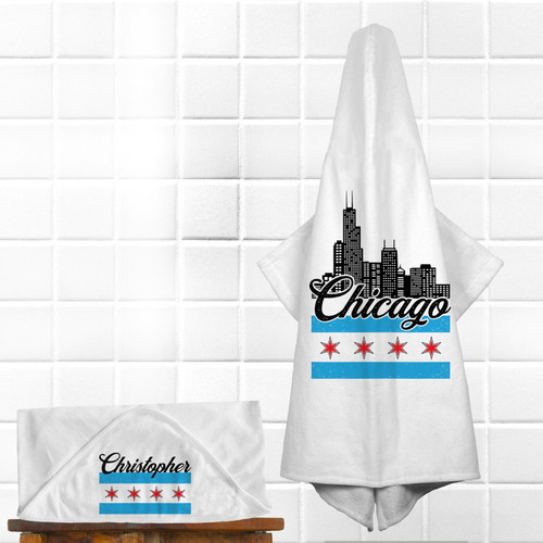 Personalized Chicago Baby Hooded Towel