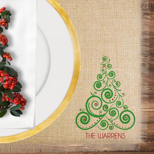 Personalized Boho Christmas Tree Jute Placemat