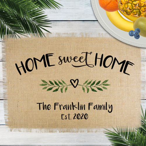 Personalized Home Sweet Home Jute Placemat