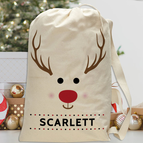 Personalized Santa Sack: Reindeer Christmas