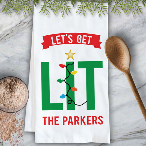 Personalized Let's Get Lit Christmas Kitchen Towel