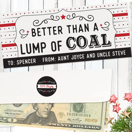Personalized Better Than Coal Christmas Money Envelope