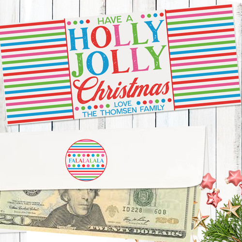 Personalized Holly Jolly Christmas Money Envelope