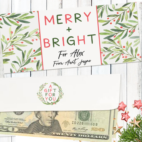 Personalized Merry & Bright Holiday Money Envelope