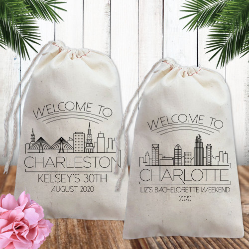 Custom Canvas Favor Bags: Welcome To Modern City Skylines