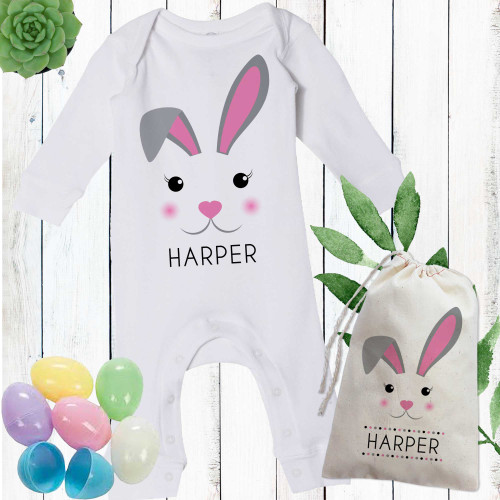 Personalized Mod Bunny Easter Romper Pink