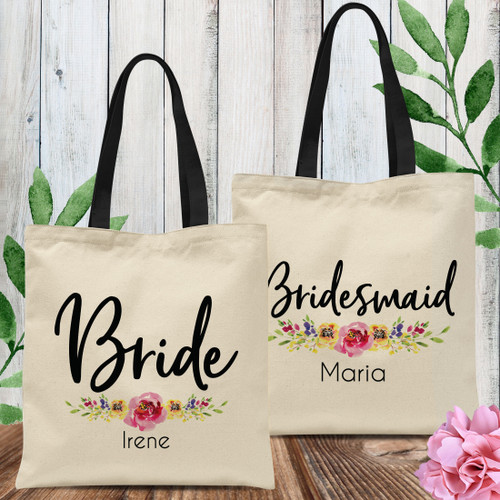 Custom Tote Bags: Floral Watercolor Bridal Party