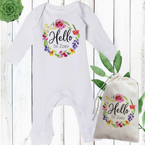 Personalized Watercolor Floral Baby Girl Romper
