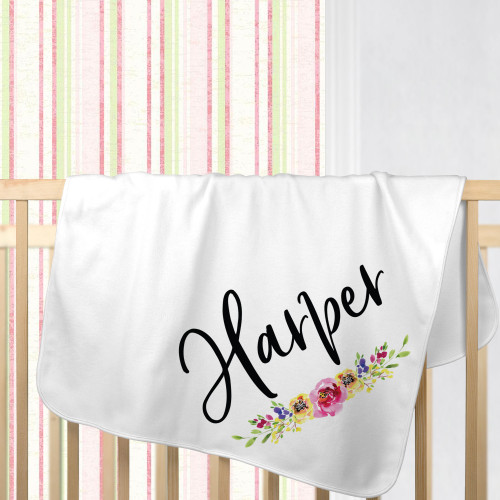 Personalized Watercolor Floral Baby Girl Blanket - Cotton Receiving + Swaddle Blankets