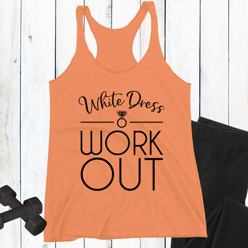White Dress Workout Wedding Racerback Tank Top