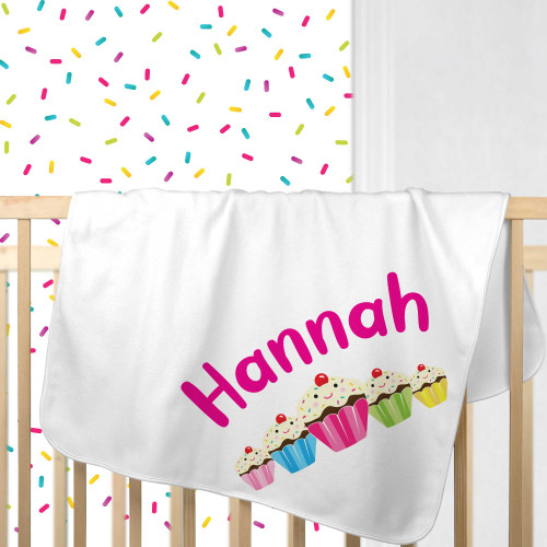 Personalized Sweet Stuff Cupcake Baby Blanket