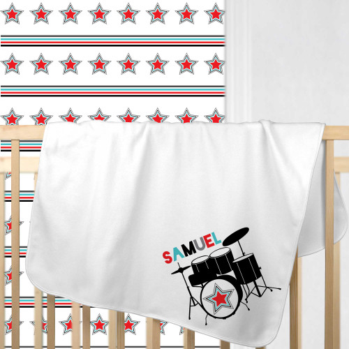 Personalized Drum Superstar Baby Blanket Red