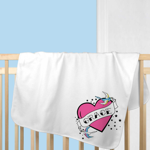 Personalized Tattoo Heart Baby Blanket Pink