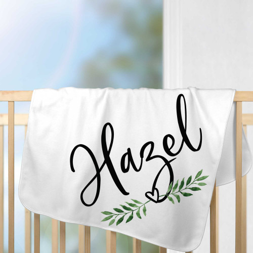 Personalized Leaf & Heart Baby Blanket