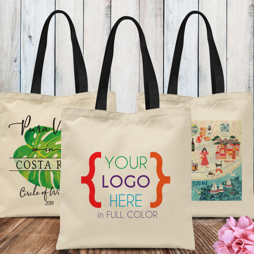 Custom Logo: Natural Canvas Tote Bag (Full Color Print)