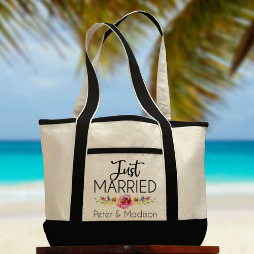 Personalized Watercolor Floral Just Married Honeymoon Beach Tote Bag