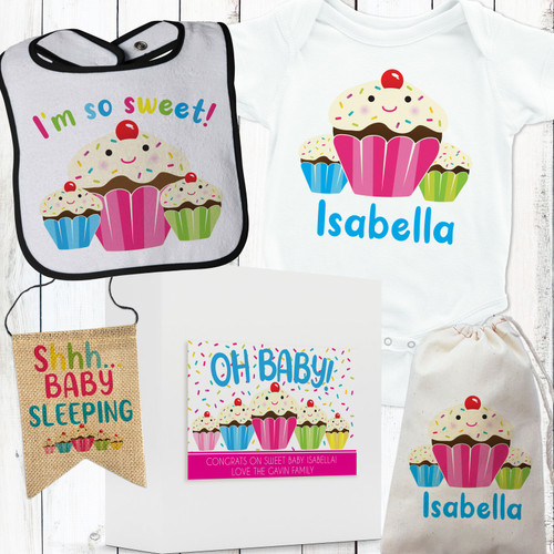 Personalized Sweet Sprinkle Cupcake Baby Gift Box Set