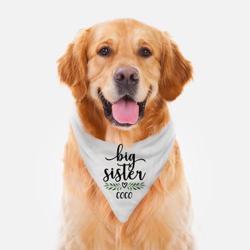 Personalized Dog Bandana: Leaf & Heart Big Sister
