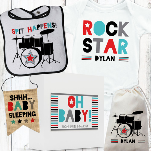 Personalized Drum Superstar Baby Gift Set Red