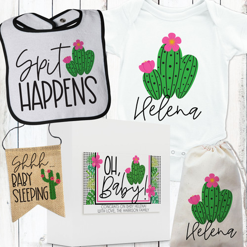 Personalized Cactus Cutie Baby Gift Box Set