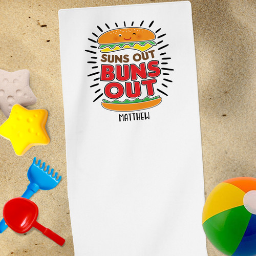 Personalized Beach Towel: Suns Out Buns Out