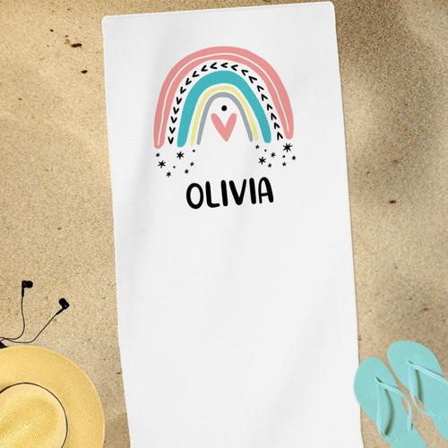 Personalized Beach Towel: Mod Rainbow