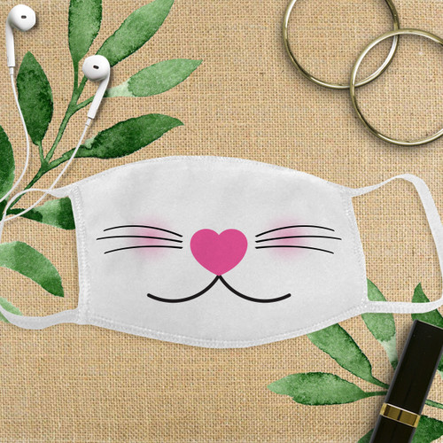 Custom Cotton Face Mask: Pretty Kitty Animal Adult Face Cover