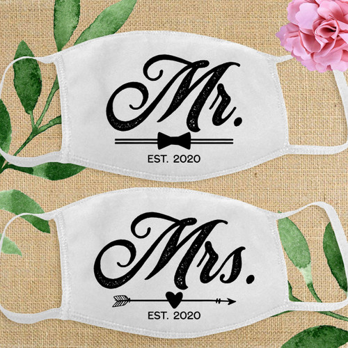 Custom Cotton Face Mask: Classic Mr. & Mrs. Wedding Bride and Groom Masks