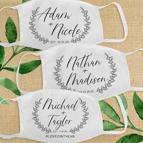 Custom Cotton Face Masks for Wedding Guests - Face Mask Favors - Happily Ever After