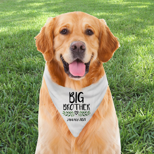 Personalized Dog Bandana: Leaf & Heart Big Brother