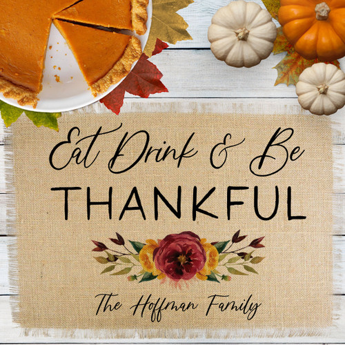 Personalized Fall Floral Thankful Jute Placemat