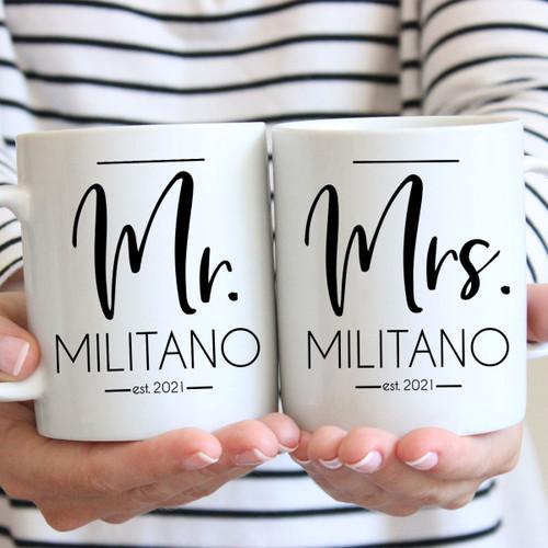 Personalized Modern Mr. & Mrs. Mug Set - Custom Wedding Mugs for Bride and Groom