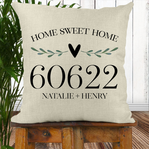 Personalized Home Sweet Home Leaf & Heart Throw Pillow Cover