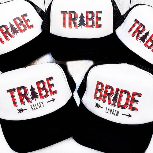 Custom Trucker Hat: Plaid Bride Tribe for Plaid Bachelorette Party or Flannel Fling