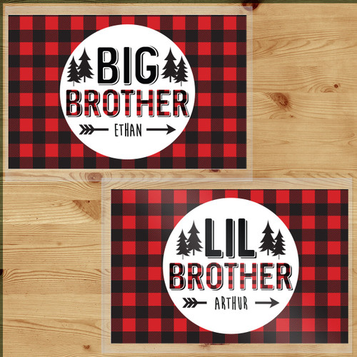 Personalized Perfectly Plaid Big and Little Brother Laminated Placemat