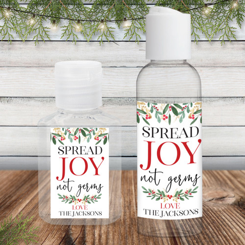 Custom Hand Sanitizer Labels: Watercolor Holly Spread Joy Not Germs - Christmas Wedding or Party Favors
